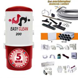 EASY-CLEAN 200 - Zentralstaubsauger - 5 Jahre Garantie (bis zu 180 m²) + Ein/Aus-Kit 9m + 8xZubehör + 3 Wandsaugdosen-Kit + Sockeleinkehrdüsen-Kit + Aufputz-Saugdosen-Kit