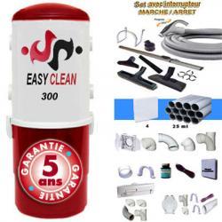 EASY-CLEAN 300 - Zentralstaubsauger - 5 Jahre Garantie (bis zu 250 m² Wohnfläche) + Ein/Aus Kit-9m + 8xZubehör + 4-Wandsaugdosen-Kit + Sockeleinkehrdüsen-Kit + Aufputz-Saugdosen-Kit