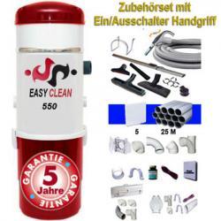 EASY-CLEAN 550 - Zentralstaubsauger - 5 Jahre Garantie (bis zu 500 m² Wohnfläche) + Ein/Aus-Kit 9m + 8xZubehör + 5-Wandsaugdosen-Kit + Sockeleinkehrdüsen-Kit + Aufputz-Saugdosen-Kit