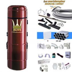 ELITE DISTINCTION Zentralstaubsauger 5 Jahre Garantie (von 100 bis 350 M²) + Ein/Aus-Kit 9m + 8xZubehör +  4-Wandsaugdosen-Kit + Sockeleinkehrdüsen-Kit + Aufputz-Saugdosen-Kit
