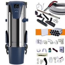 Zentralstaubsauger Aertecnica TX3A- bis zu 550m² - 3 Jahre Garantie + 9m elektronische Saugkraftregulierung am Handgriff + 3 Wandsaugdosen Set