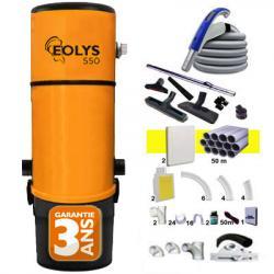 EOLYS 550 Zentralstaubsauger - 3 Jahre Garantie + 1 RETRAFLEX-Set 15 m + 1 RETRAFLEX-Set 12 m + 14xZubehöre + 2 RETRAFLEX-Saugdosen-Kit  (Neue Generation, 20% kleiner als das erste Modell) + Sockeleinkehrdüsen-Kit (Aktionsradius 1 X 150 m2 /1 X 90 m2)
