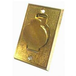 Metall-Wandsaugdose mit rundem Deckel - messingfarben - L 127 / B 82