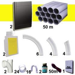 2 Wandsaugdosen-Kit RETRAFLEX - schwarz - mit 50 m PVC-Rohr (für Schlauch 15m/18m, nicht inkl.)