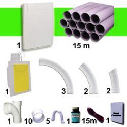 1 Wandsaugdosen-Kit RETRAFLEX - weiß - mit 15m PVC-Rohr (für Schlauch 9m/12m, nicht inkl.)